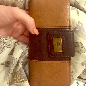 Fossil Brown and Black Large Slim Wallet